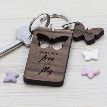 Butterfly Walnut Keyring